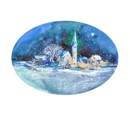 watercolor night city Reklamní fotografie