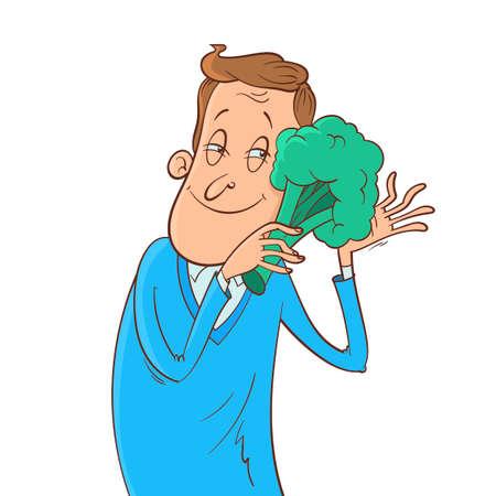 man hugs broccoli  イラスト・ベクター素材