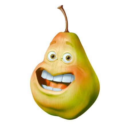 Funny cartoon pear 3d illustration Reklamní fotografie