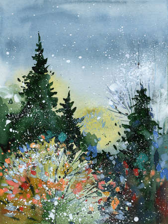 watercolor spruce forest