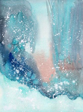 watercolor winter landscape 写真素材