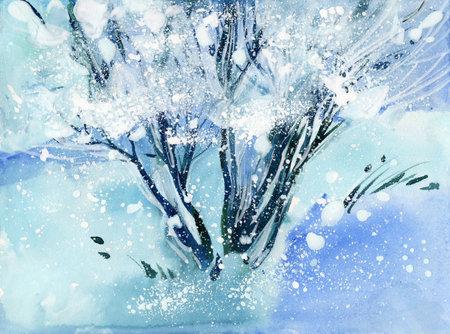 watercolor winter tree 写真素材
