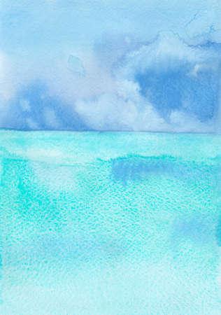 watercolor ocean and sky