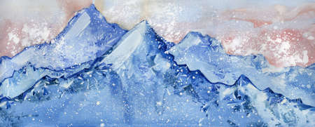 blue mountains watercolor