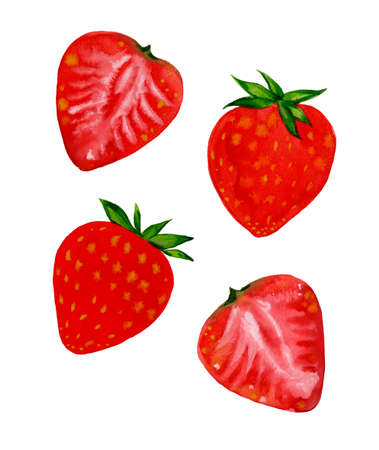 Four red strawberries