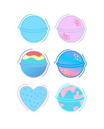 Bath bomb illustration. Home spa relaxation cosmetics icon. Design elements for packaging, banners, poster.