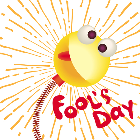 April fools day greeting card emoji smiling with hat and confetti.