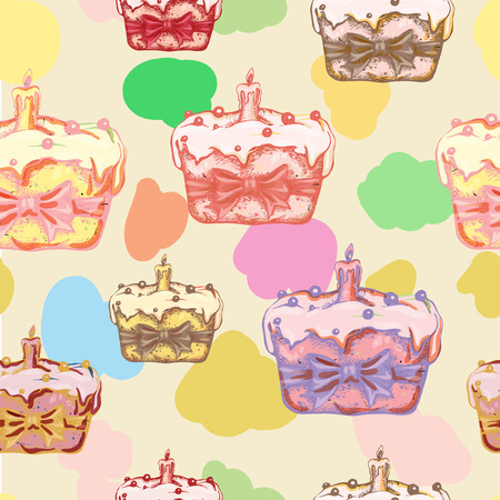 Happy Easter seamless pattern with hand drawn Easter cake.Vector illustration.