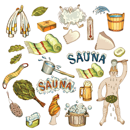 Vector set of hand drawn bath accessories, sauna accessories in wooden sauna.