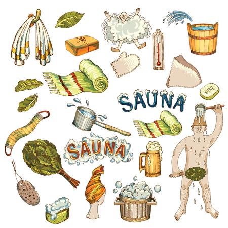 Vector set of hand drawn bath accessories, sauna accessories in wooden sauna.
