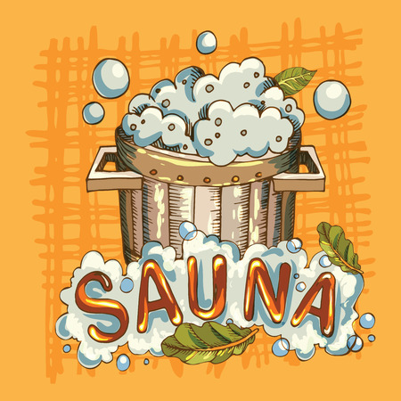 Vector image of sauna accessories in background image  イラスト・ベクター素材
