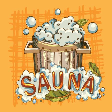 Vector image of sauna accessories in background image Stock Illustratie