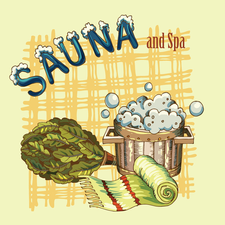 Vector image of sauna accessories in background image Illustration