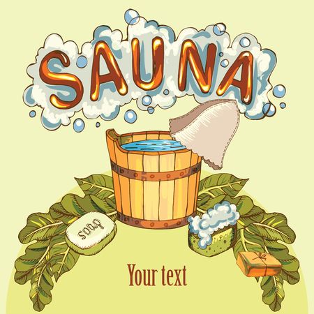 Vector background with cartoon hand drawn sauna objects: broom, towel, hat, wisp, beer, steam. Relaxation, health care or treatment concept for your design