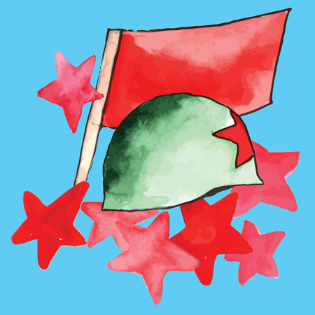 Watercolor texture symbols Of Victory Day with stars, red flag, and military hat on blue background vector illustration Illustration