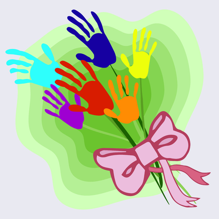 Bouquet of stylized multicolored flowers in the form of children's handprints on a blue sky background. Children-flowers of life. Happy childhood in a peaceful country, under a clear sky. The world in children's hands. Multicolored festive composition, bright picture for decoration of children's holidays, printed materials.