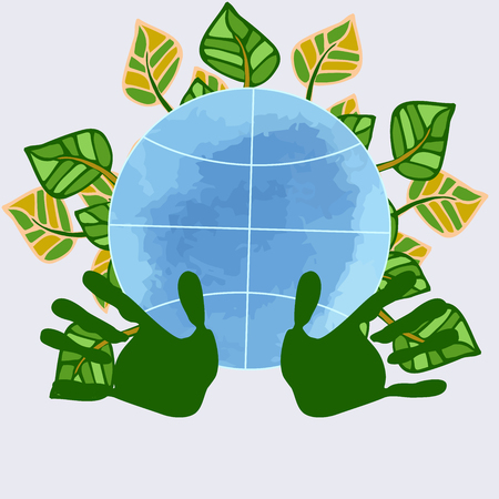 Globe on white background surrounded by plant, natural elements. Symbol of peace, ecology, environment, nature protection. Decorative composition for decoration of childrens events, publications environmental orientation, subjects.
