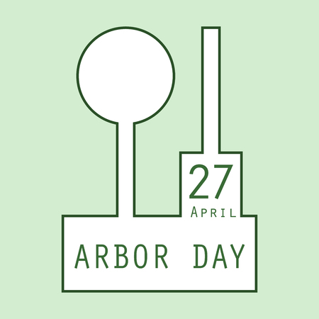 Symbols of the tree planting festival. Logo of a stylized sapling and a shovel. Minimalism. A linear pattern.
