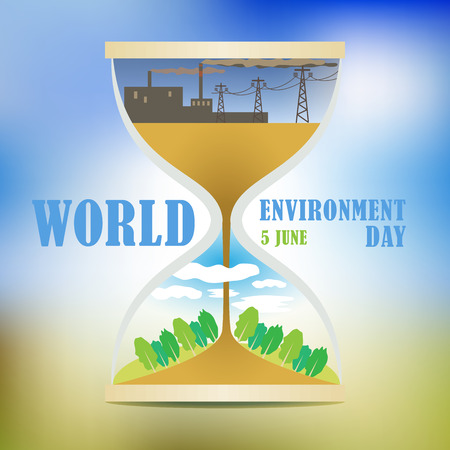 World environment Day. The solution to the pollution problems of the ecosystem. Comfortable living environment. Impact of technological progress. Depletion of natural resources. Illustration