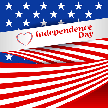 Greeting patriotic card with the flag of America. US Independence Day, July 4. Abstract background with special objects. Vector illustration.