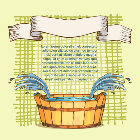 The concept of beauty and health, sauna services. Individual bath accessories, items for face and body care, rejuvenation. Culture symbols of purity against the background of tablecloths in a cage. Vector illustration in the style of sketching Ilustração
