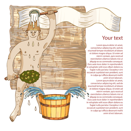 The man in the bath is poured with water. The concept of leisure in the bath, relaxation and purity of the body, a healthy lifestyle on an abstract background. Advertising bath services, leaflets with the symbols of the bath, sauna.Place for your text.