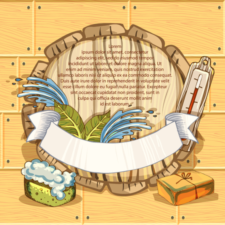 The concept of beauty and health, sauna services. Individual bath accessories, items for face and body care, rejuvenation. Culture symbols of purity. Vector illustration in the style of sketching. Çizim