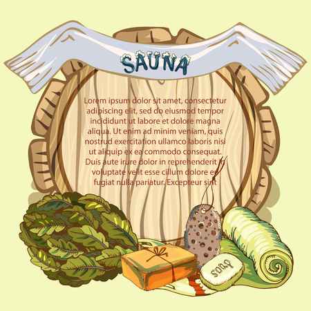 The concept of beauty and health, sauna services. Individual bath accessories, items for face and body care, rejuvenation. Culture symbols of purity. Place for your text on wooden background. Vector illustration in the style of sketching