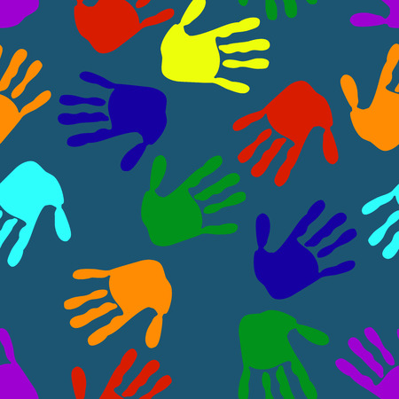 Seamless pattern colored children's hands on a dark background. Elements in a chaotic order.