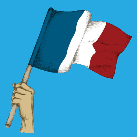 Hand drawing, sketch. French flag in hand, the state colors of France on a neutral background.