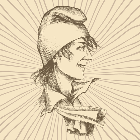 Hand drawing of a young Frenchman in a Phrygian cap. A symbol of freedom, on the background of radial rays. Illustration