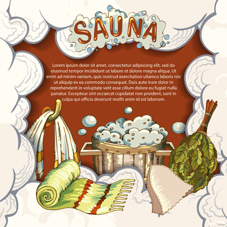 The concept of beauty and health, sauna services. Individual bath accessories, items for face and body care, rejuvenation. Culture symbols of purity. Vector illustration in the style of sketching. Ilustração