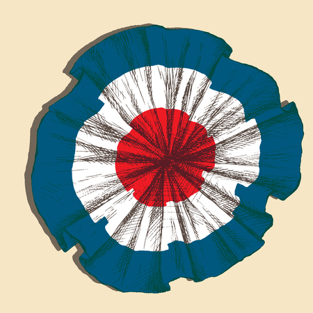 Hand drawing, sketch. badge with the state colors of the French tricolor on a neutral background.  イラスト・ベクター素材