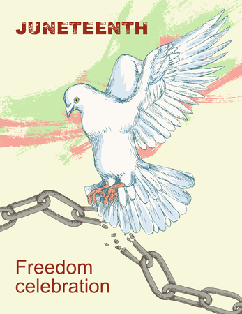 Juneteenth day. A broken chain and shackles. Dove, bird, symbol of peace and happiness, liberty. Hand sketch style drawing. The sleek silhouette on a white background. White bird on a light background.