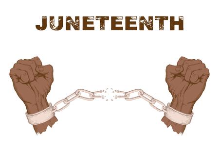 Juneteenth dag. Vuist, hand, gebroken ketting, de ketenen, het symbool van protest tegen een witte achtergrond. Vecht voor vrijheid en gelijke rechten. Handtekening in schetsstijl.