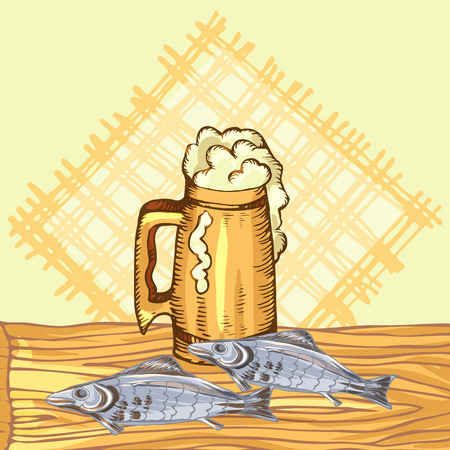 The concept of mens rest in the sauna, bath.Mug with foam beer and dry fish. Vector illustration in the style of sketching. Stock Photo