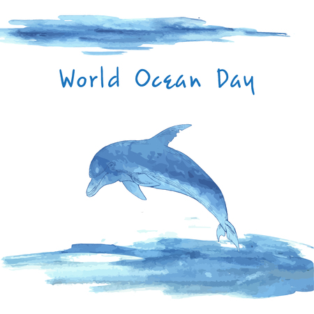 World ocean day. Stylized image of water. Border in the form of waves. Blue Dolphin, hand-drawn. Watercolor stain. Illustration