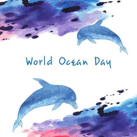 World ocean day. Stylized image of water. Border in the form of waves. Blue Dolphin, hand-drawn. Watercolor stain. Ilustrace