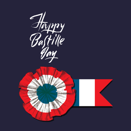 Bastille Day. Badge and ribbon. The French tricolor, the colors of the French flag. Hand lettering happy Bastille day. Hand drawing in sketch style. Ilustração