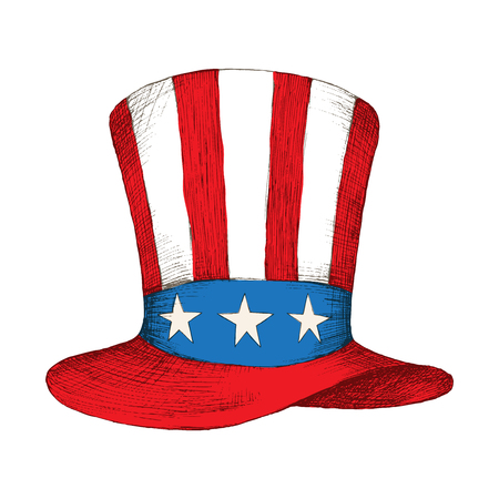 American independence day. Hat with the flag of the United States of America with the tape. The American symbol is uncle Sams hat. Hand drawing in sketch style.