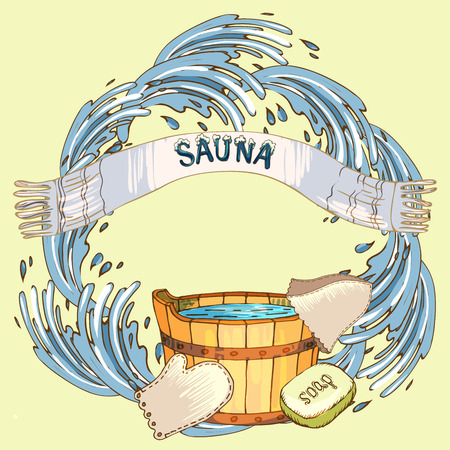 The concept of beauty and health, sauna services. Individual bath accessories, items for face and body care, rejuvenation. Culture symbols of purity. Vector illustration in the style of sketching. Stock Illustratie