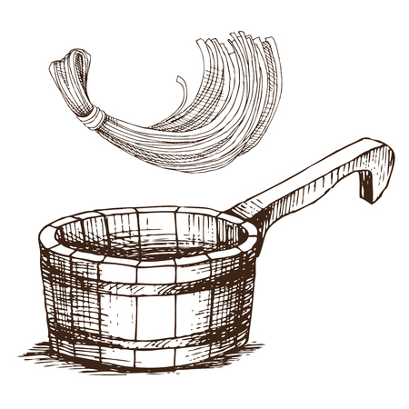 Wooden bucket and a sponge for washing, for Russian bath for body hygiene. Set of accessories for bath, sauna. Hand drawing in sketch style. Isolated object on white background. Çizim