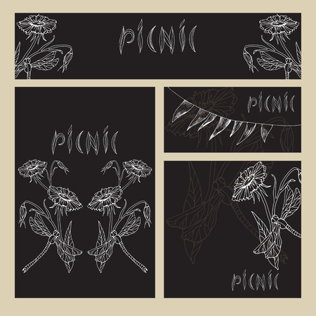 Chalk hand drawing. Set of business formats with images for a picnic in the style of Doodle on a black Board background. Flower and dragonfly, hand lettering picnic.