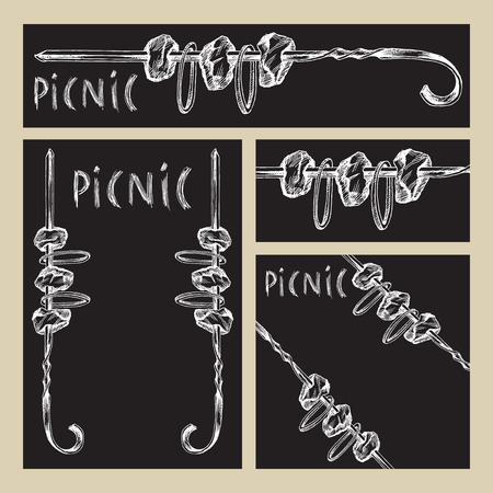 Chalk hand drawing. Set of business formats with images for a picnic in the style of Doodle on a black Board background. Shish kebab on a skewer and hand lettering.
