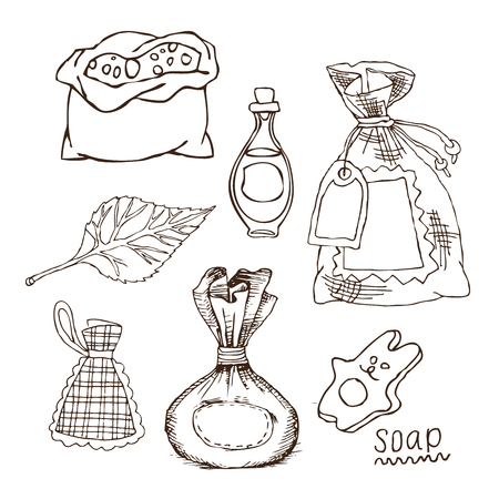 Set of bags for bath flavors, salt, oil for Russian bath for body hygiene. Set of accessories for bath, sauna. Hand drawing in sketch style. Isolated object on white background.