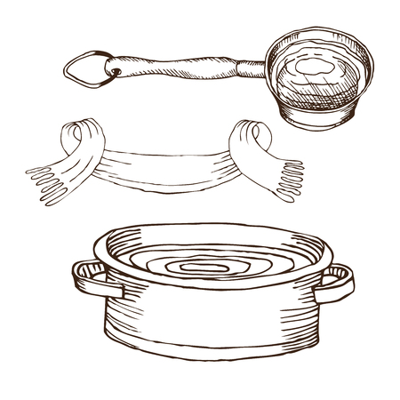 bucket, towel, basin with water for Russian bath for body hygiene. Set of accessories for bath, sauna. Hand drawing in sketch style. Isolated object on white background.