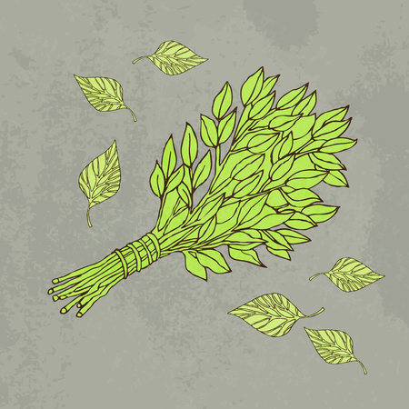 The picture for the Russian bath. Birch whisks for the sauna. Logo for the bath company. Place for your text. Hand drawing on grey background. Template printing design bath services. Vector image Ilustração