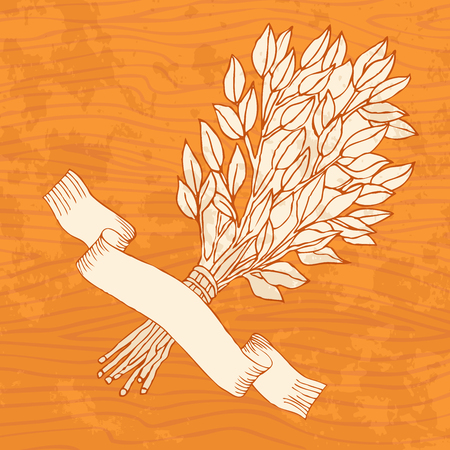 Birch broom for the bath on a wooden background. Design template banners, cards, cards for sauna, bath.  Place for text. Hand drawing in sketch style. Vector illustration