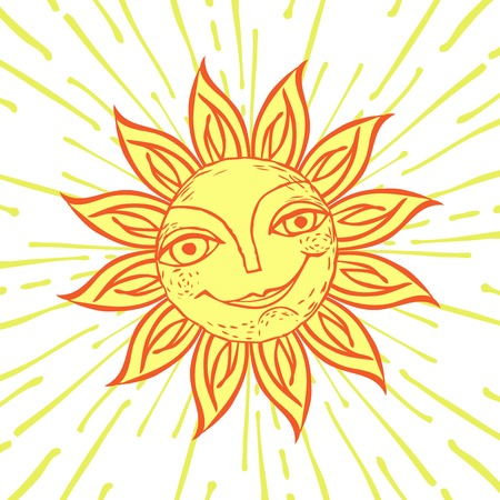 Cheerful sun for the design of summer holidays, picnics, childrens parties. Great weather. Hand-drawn sketch style on the background of radial rays. Vector illustration