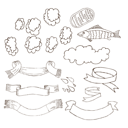 Banners, ribbons, clouds of steam for inscriptions for Russian bath . Set of accessories for bath, sauna. Hand drawing in sketch style. Isolated object on white background.